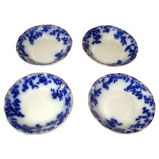 "Set of Four Grindley ""Rose"" Flow Blue Fruit Bowls"