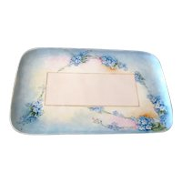Hand-Painted Limoges Vanity Tray with Forget-Me-Nots