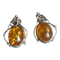 Sterling Silver Pierced Post Earrings with Cabochon Amber Stones