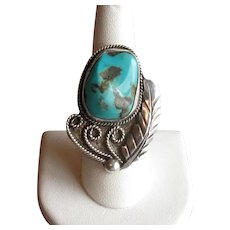 Leander Nezzie Native American Silver & Turquoise Ring