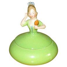 Green China Dresser Doll Trinket Box