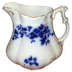 "English Pottery Flow Blue ""Rose"" Pitcher"