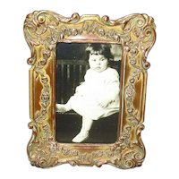 Small Antique Fancy Brass Picture Frame