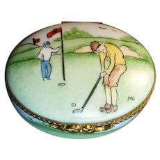 Porcelain Limoges Box with Golfing Motif