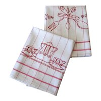Pair of Kitchen Towels with Red Embroidery
