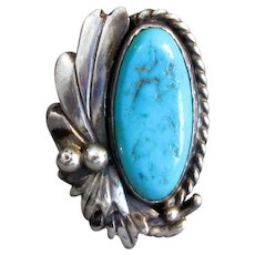 Native American Signed Sterling and Turquoise Ring