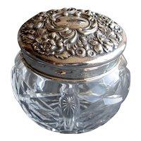 Crystal Vanity Jar with Sterling Silver Top