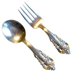 """Wallace Sterling """"Grand Baroque"""" Baby Flatware Set"""