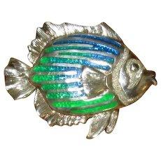 Sterling and Enamel Kabana Fish Pin