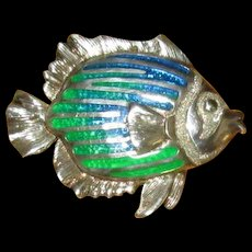Sterling and Enamel Kabana Fish Pin