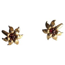 14K Star-Flower Earrings with Red Stones