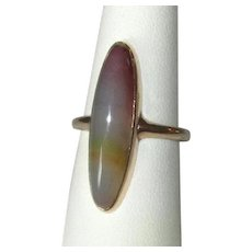 Ladies' Antique 14K Ring with Oval Banded Agate