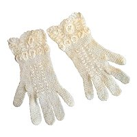 Pair of Small Hand-Crocheted Gloves