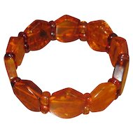 Stretch Bracelet with Hexagonal Polished Amber Stones