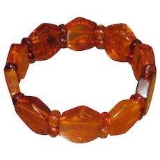 Stretch Bracelet with Hexagonal Polished Amber Stones