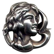 Art Nouveau Sterling Lady Watch or Fob Pin