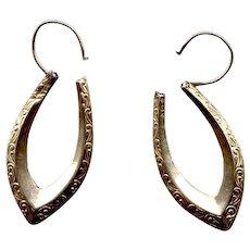 10K Gold Engraved Pointed-Hoop Pierced Earrings