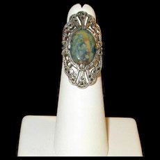Vintage Sterling and Jasper Ring with Marcasites