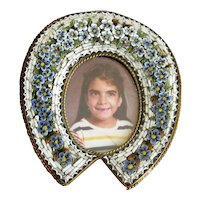 Vintage Horse-Shoe Shaped Mosaic Picture Frame
