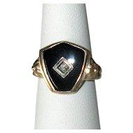 10K Gold Victorian Black Onyx Ring with Diamond