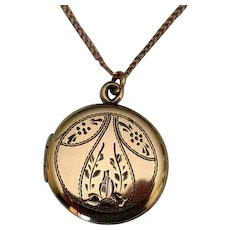 Round Sterling Silver Vermeil Locket with Gold-Filled Chain