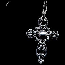 Fancy Sterling Silver Cross with Rope Chain
