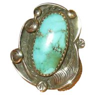 Native American Navaho Silver & Turquoise Ring with Feather