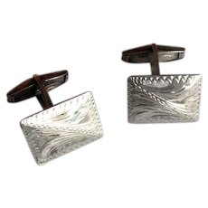 800 Silver Cufflinks with Engraved Design