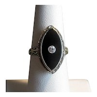 14K White Gold Ring with Black Onyx and Diamond