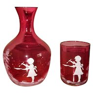 Czech Cranberry Glass Tumble-Up Guest Set