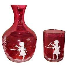 Czech Cranberry Glass Tumble-Up Guest Set