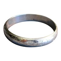 Sterling Silver Bangle Bracelet with Engraved Plumes
