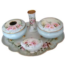 Vintage Hand-Painted China Dresser Set with Climbing Roses