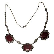Sterling Art Deco Marcasite Necklace with Carnelian Stones