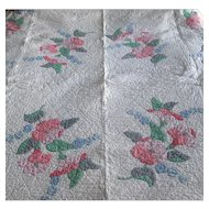 Vintage hand-Made Applique Quilt with Morning Glories