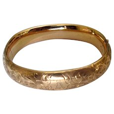 Vintage Gold-Filled Bangle Bracelet with Engraving