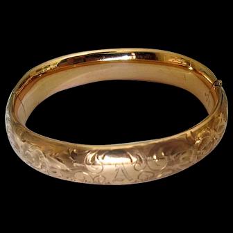 Vintage Gold-Filled Bangle Bracelet with Engraving