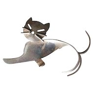 Beau Sterling Modernist Cat Pin