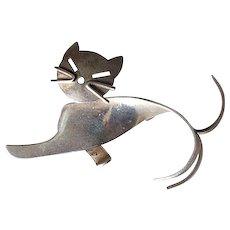 Beau Sterling Modernist Cat Pin