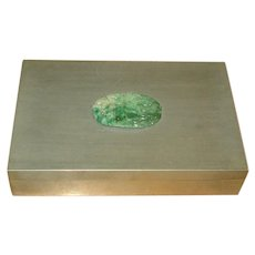 Vintage Asian Pewter Box with Carved Jade Medallion