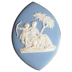 Large Vintage Silver Pin or Pendant with Wedgwood Cameo