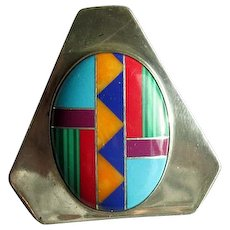 Native American Zuni Silver & Channel Inlay Pendant