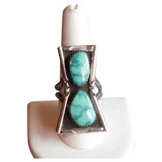 Sterling & Turquoise Native American Ring with Two Stones