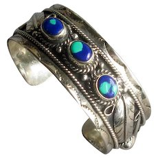 Mexican Silver Cuff Bracelet with Azurite Stones