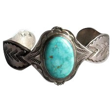 Vintage Native American Navaho Cuff Bracelet with Turquoise