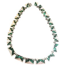 Mexican Sterling & Chip Inlay Modernist Necklace