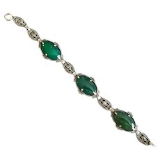 Vintage Sterling & Marcasite Bracelet with Green Onyx Stones