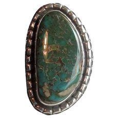 Native American Navaho Silver & Green Turquoise Ring