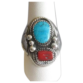 Native American Navaho Silver, Coral, and Turquoise Ring