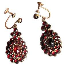 Antique Gold-Filled Garnet Drop Earrings